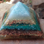 Orgone Pyramid with Amazonite, Turquoise, Brass, Malachite, Shungite and Copper