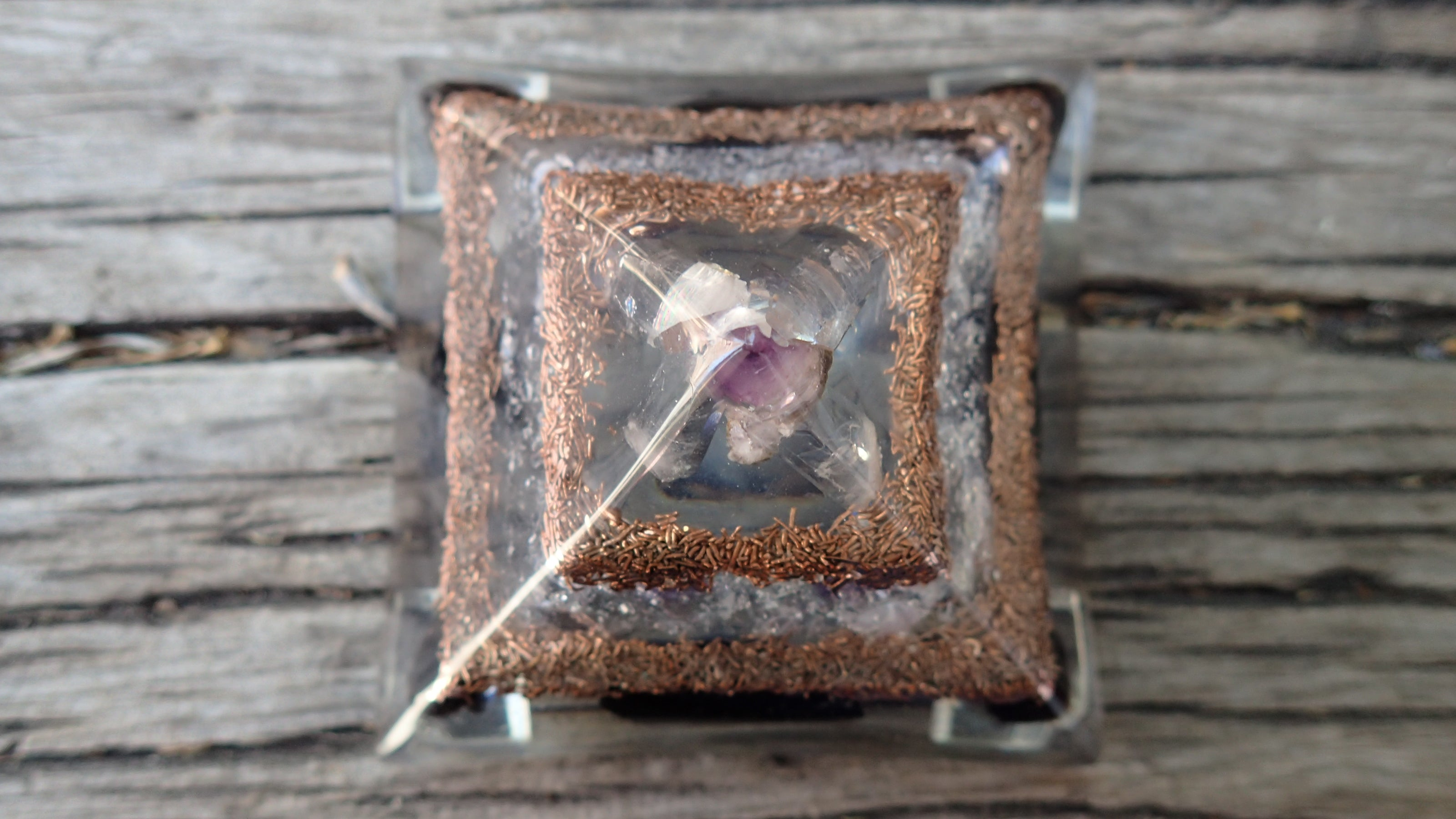 Orgone Pyramid with Amethyst, Quartz, Smoky Quartz, Black Tourmaline, and Copper