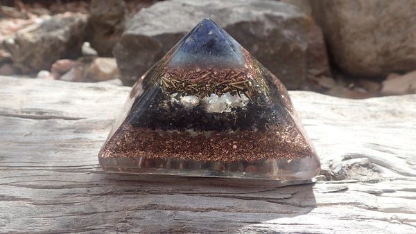 Orgone Crystal Pyramid with Sodalite, Amazonite, Quartz, Obsidian, Smokey Quartz and Copper