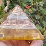 Orgone Pyramid with Lepidolite, Copper, Quartz, Citrine, and Fluorite