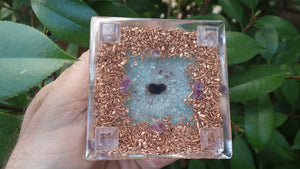 Orgone Pyramid with Quartz, Amethyst, Amazonite, Smokey Quartz, and Copper