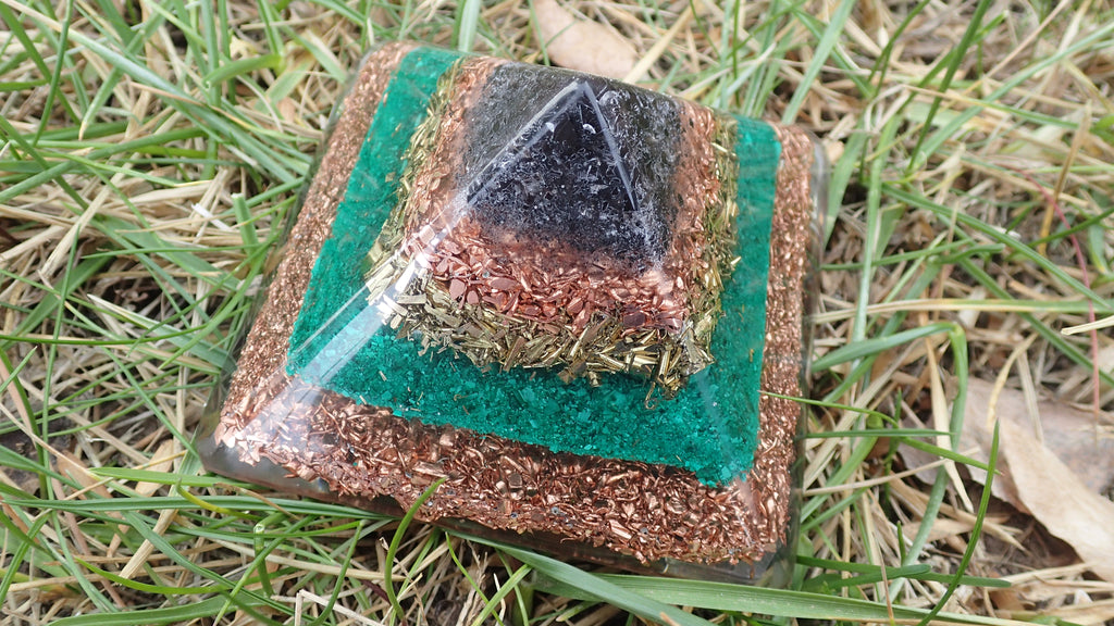 Orgone Pyramid with Quartz, Obsidian, Snowflake Obsidian, Malachite, Smokey Quartz, Brass and Copper
