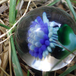 Marble with intricate Blue Flower : Glass Art