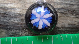 Small Pink, and Blue Flower Pendant