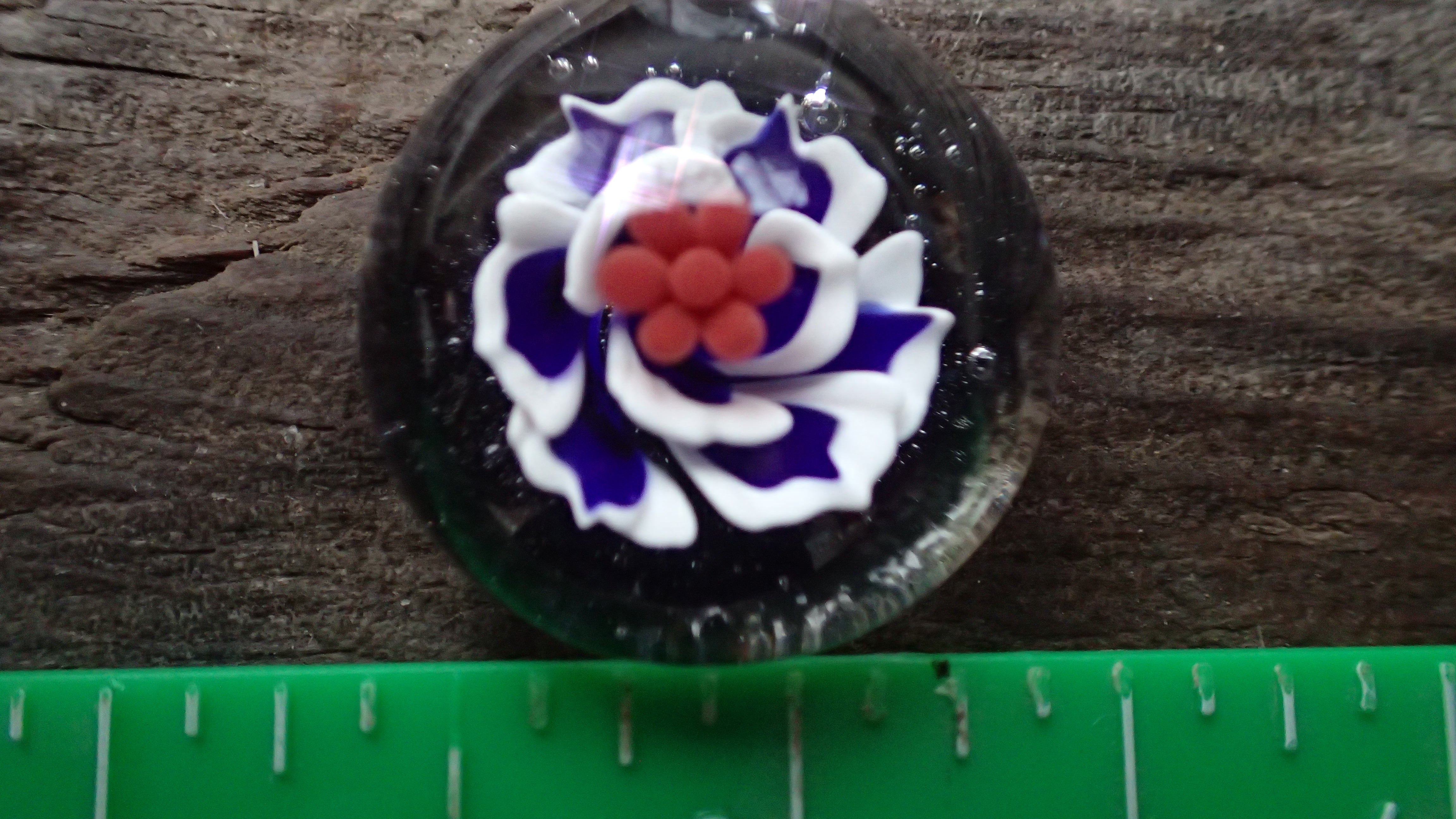 Flower Pendant with White and Blue Petals, as well as Red Pistils : Glass art