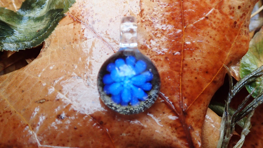 Small Blue Flower Glass Pendant
