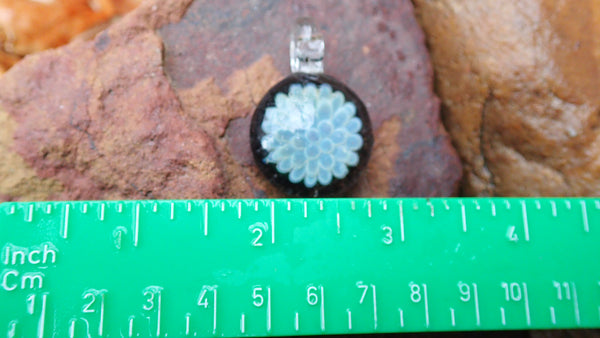 Light Blue Flower Bomb Pendant: Glass Art