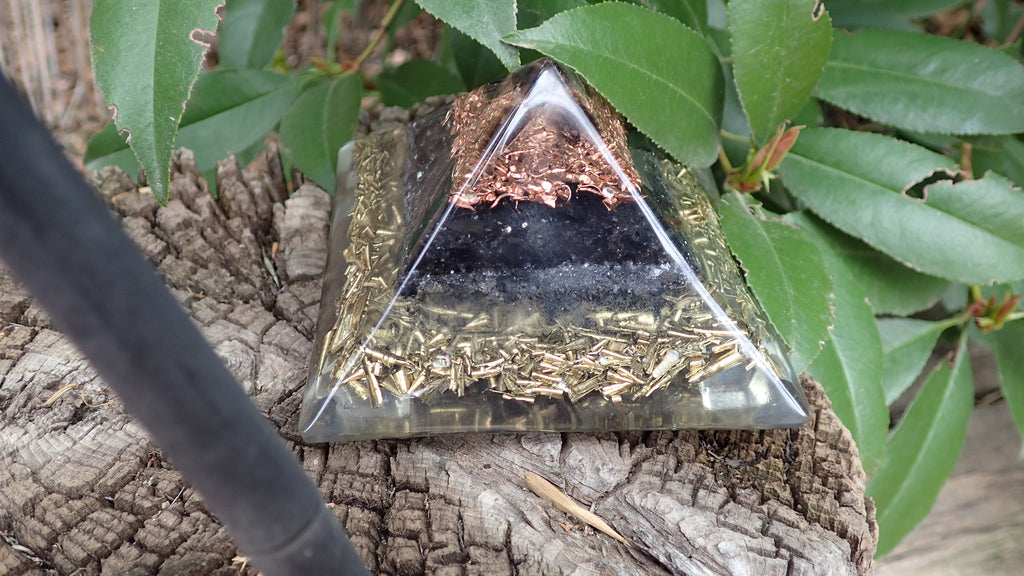 Orgone Pyramid with Smoky Quartz Points, Smoky Quartz, Obsidian, Quartz, Copper, and Brass
