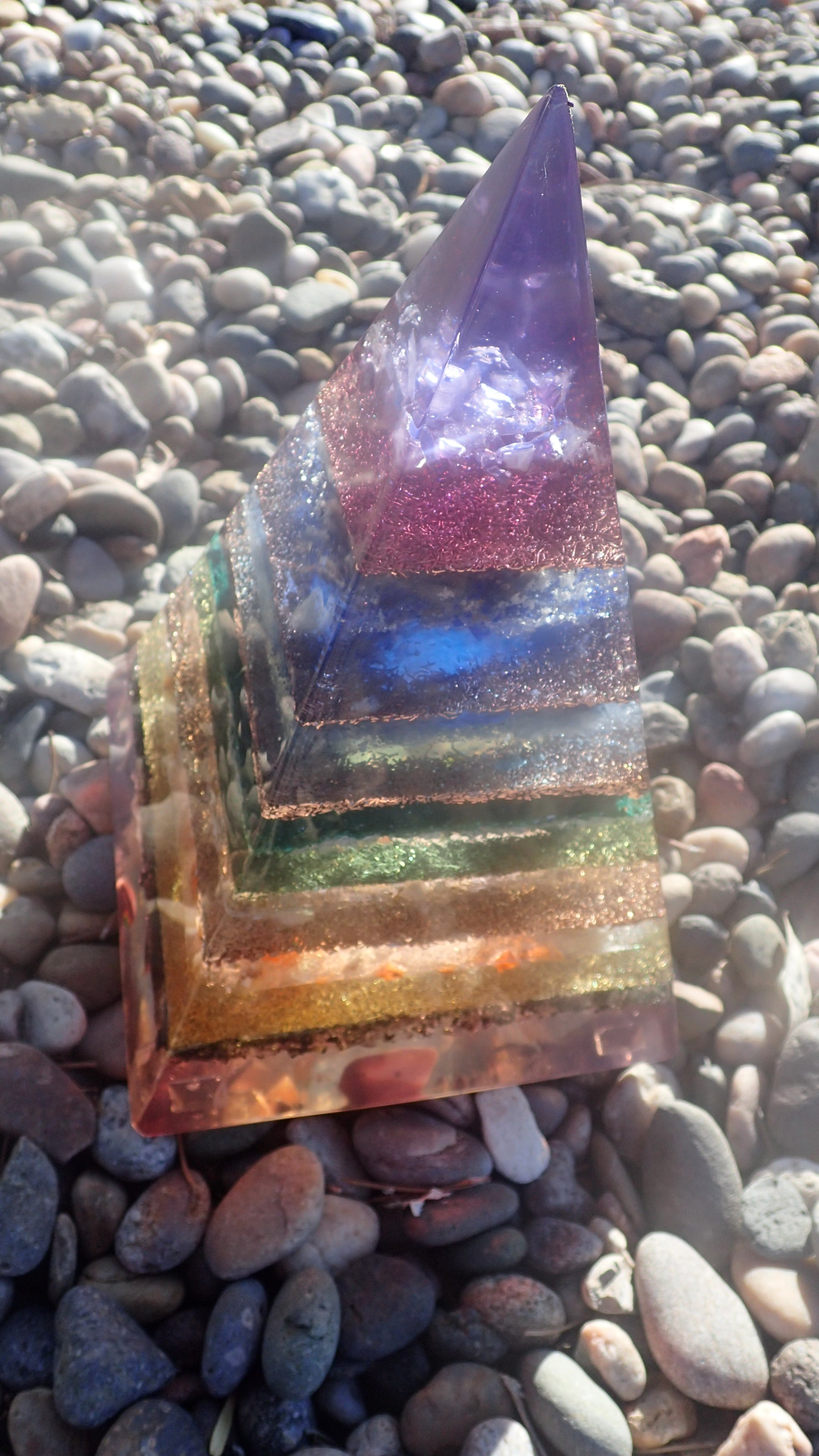Large Russian Style 7 Chakra Orgone Pyramid( Read Description for Stones included)