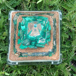 Orgone Pyramid with Emerald, Malachite, Copper, Quartz, White Glow - Medium