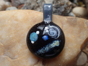 Glass Pendant with planets, opal stone, and a shooting start