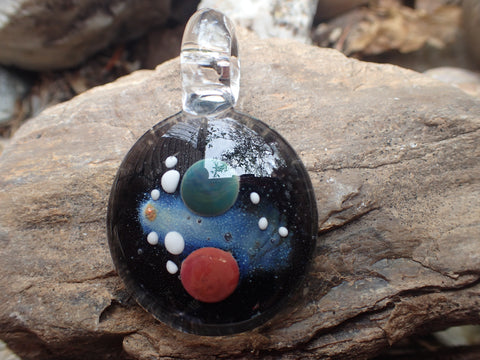 Medium Galaxy Pendant with Red,Green Planets, and Galaxy Background with 24 Kt gold