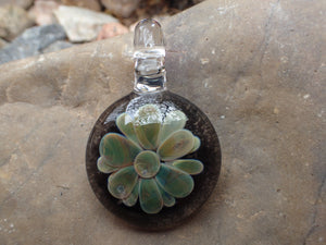 Green Flower Glass Pendant: Glass Art