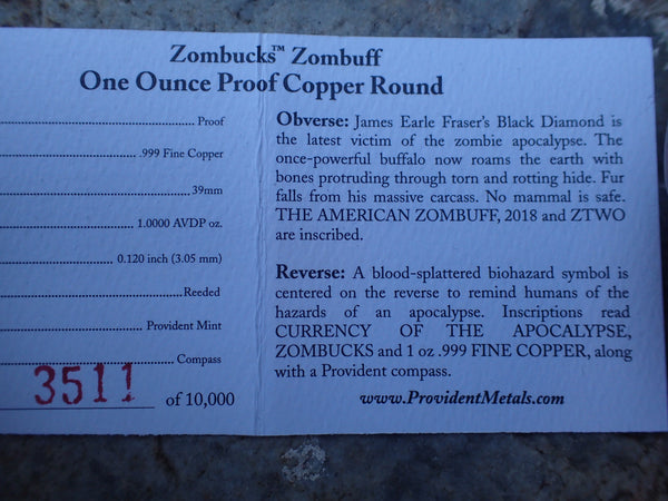 Proof Zombucks ZomBuff 1 oz Copper Round