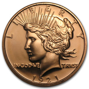 1 oz Copper Round | Peace Dollar (Buy 5 Get 1 Free)
