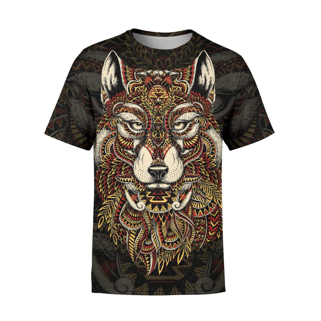Short Sleeve Tribal Wolf T-Shirt