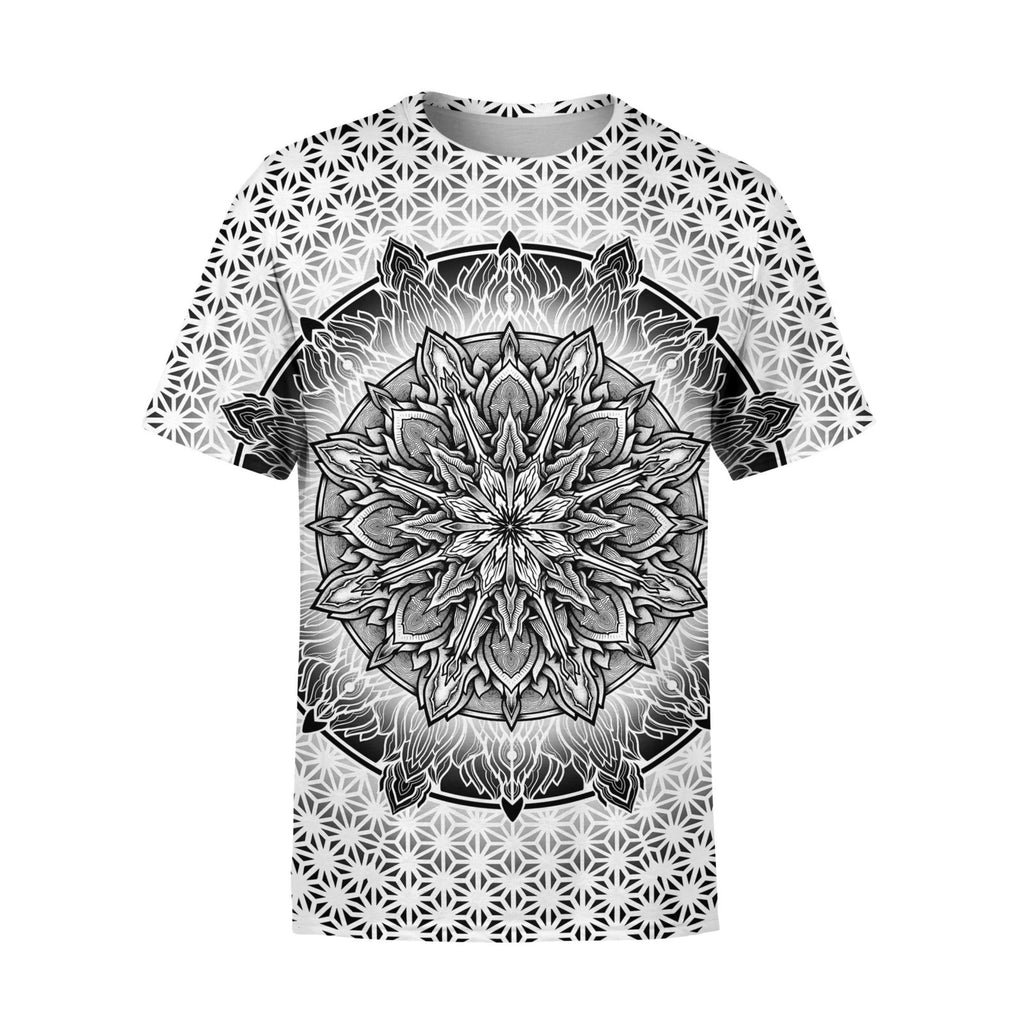 Short Sleeve White Sacred Mandala T-Shirt