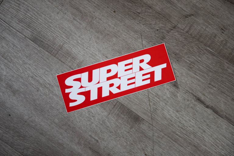Super Street Classic Bumper Sticker - WHITE/RED