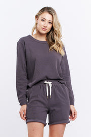 LONG SLEEVE WAFFLE TOP - CHARCOAL