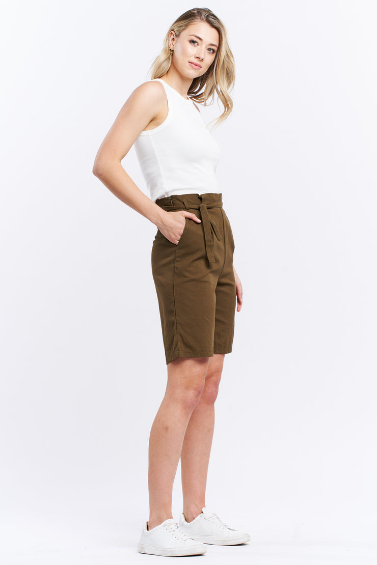 HIGH WAISTED SHORT - OLIVE