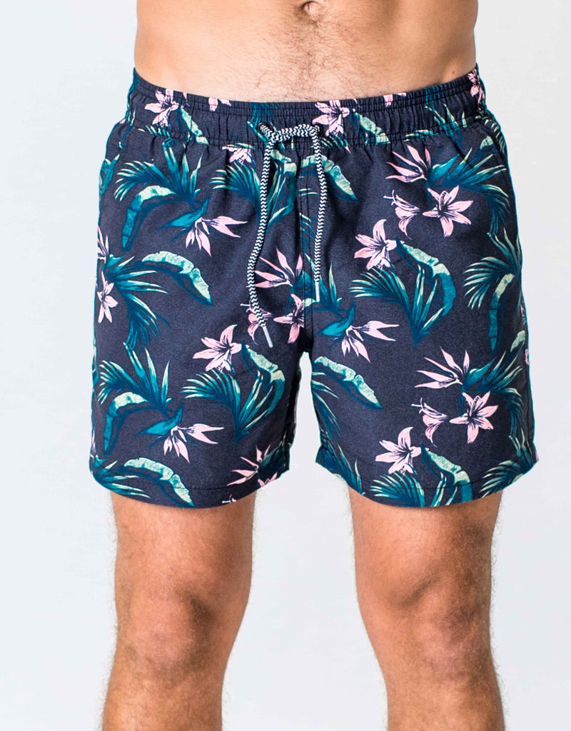 SWIMSHORT - BLACK FLORAL