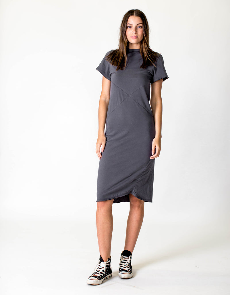 SHORT SLEEVE MIDI DRESS - ASPHALT