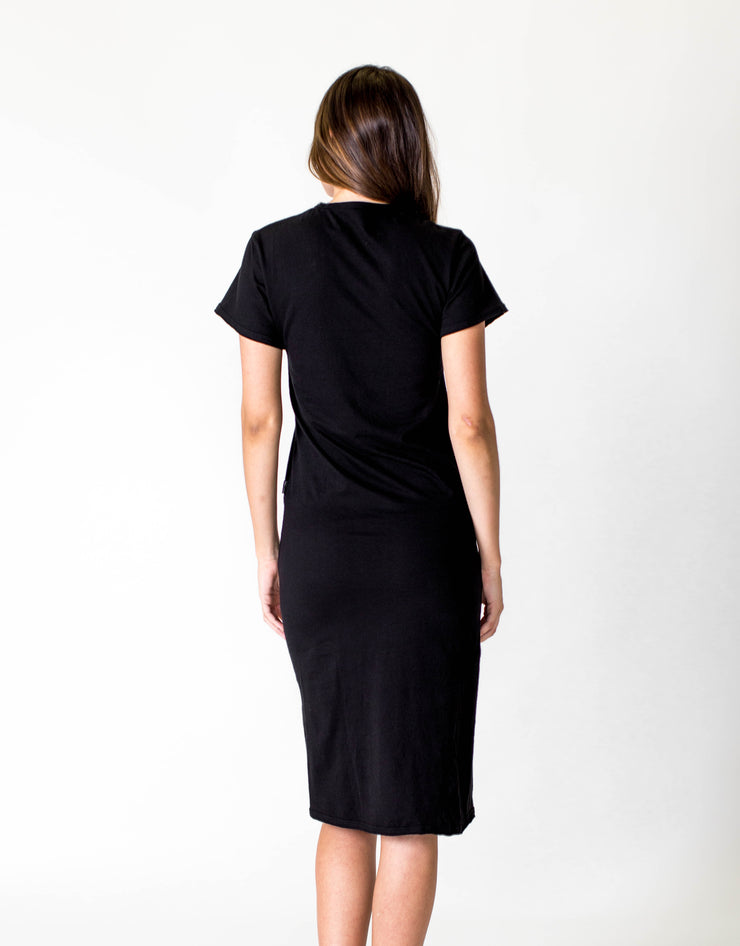 SHORT SLEEVE MIDI DRESS - BLACK