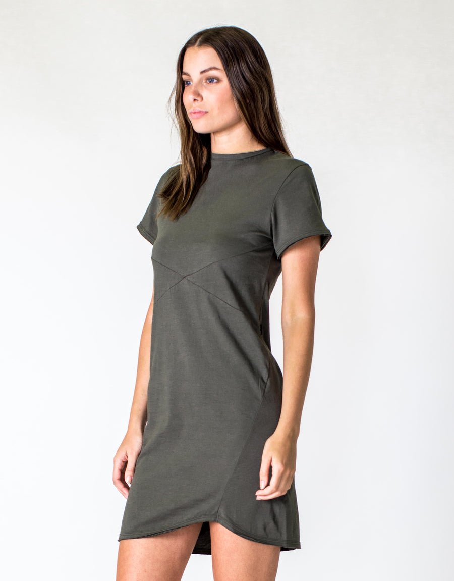 CROSS SEAM DRESS - DARK OLIVE