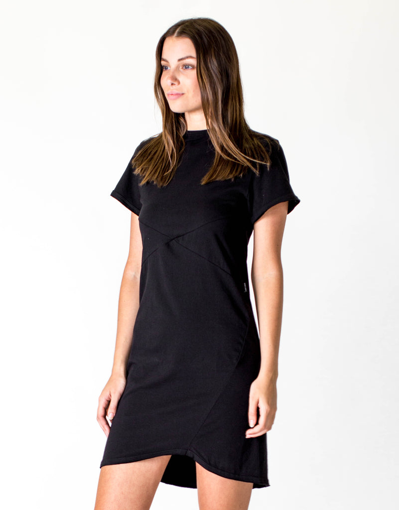 CROSS SEAM DRESS - BLACK