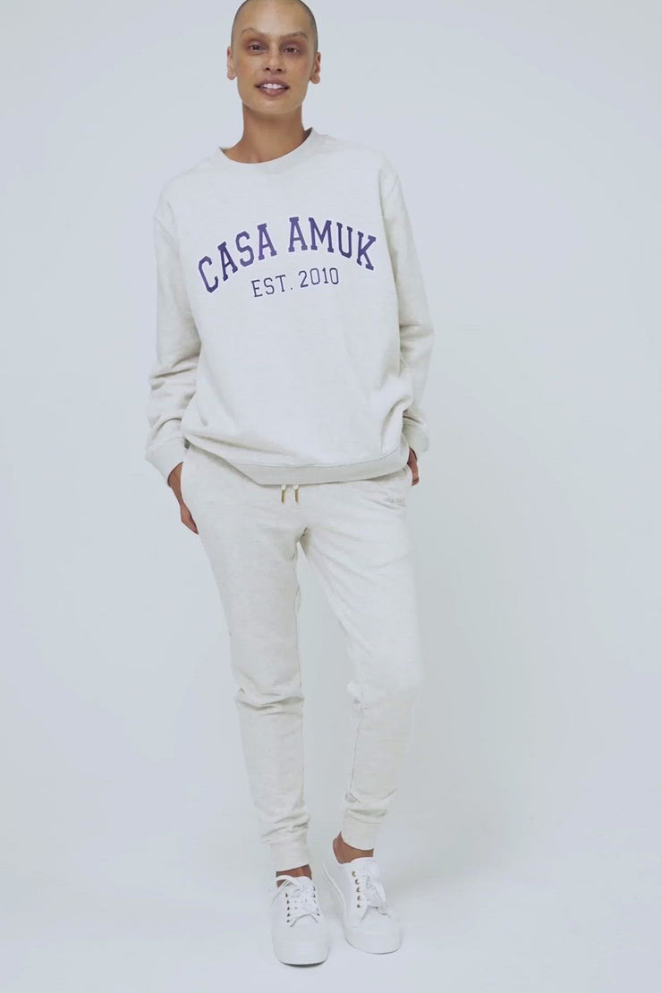 VARSITY SWEATER - WHITE MARLE