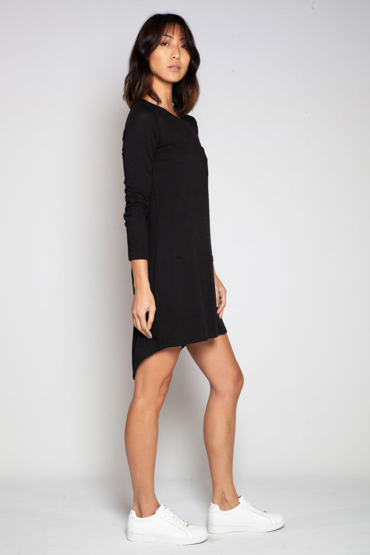 LONG SLEEVE T-BAR TUNIC - BLACK