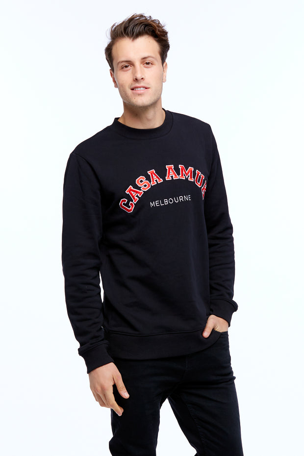 MEN'S VARSITY SWEATER - BLACK/CHILLI