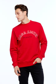 MEN'S VARSITY SWEATER - CHILLI/WHITE