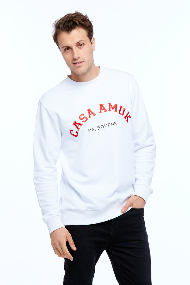 MEN'S VARSITY SWEATER - WHITE/CHILLI