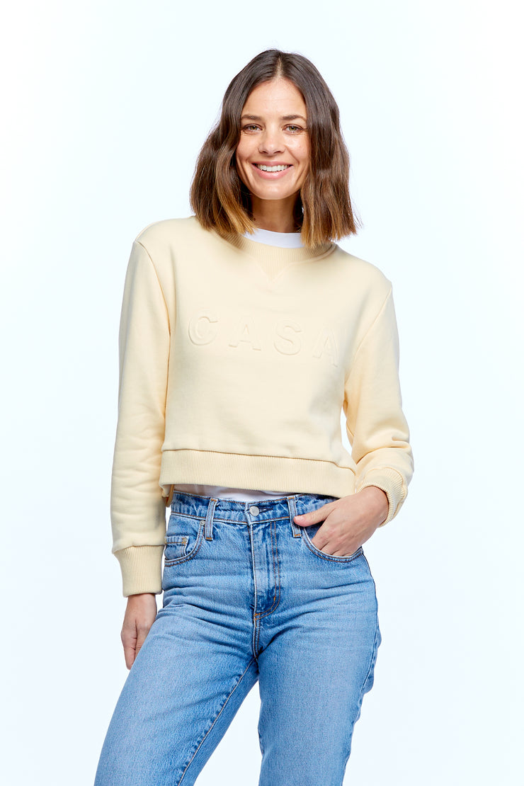 CASA CROP SWEATER - BEIGE