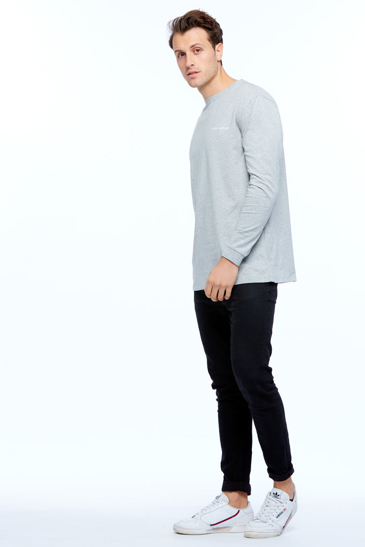 LONG SLEEVE LOGO TEE - GREY