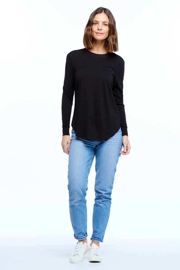 LONG SLEEVE RIB-NECK TEE - BLACK