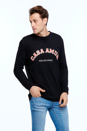 LONG SLEEVE VARSITY TEE - BLACK