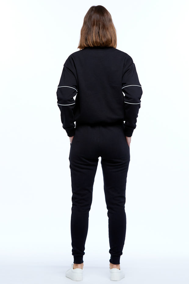 DRAWSTRING WINDCHEATER - BLACK/WHITE