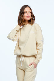 DRAWSTRING WINDCHEATER - BEIGE/WHITE