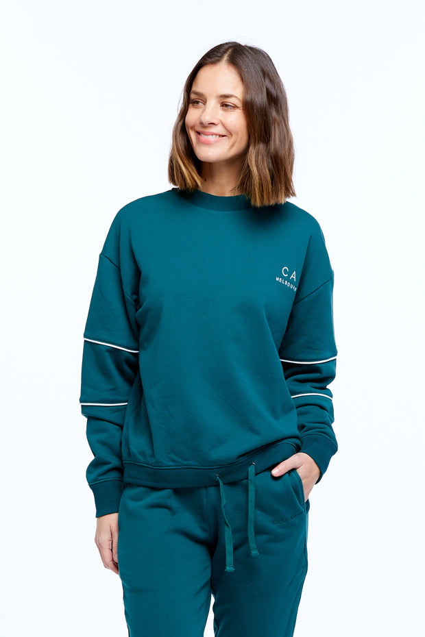 DRAWSTRING WINDCHEATER - PINE GREEN/WHITE