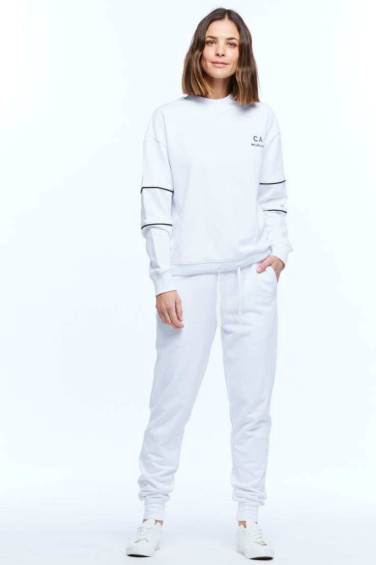 DRAWSTRING WINDCHEATER - WHITE/BLACK