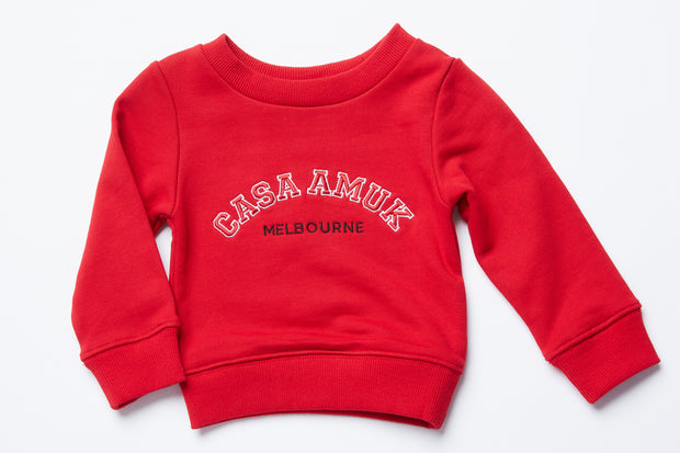 CASA KIDS SWEATER - CHILLI/WHITE