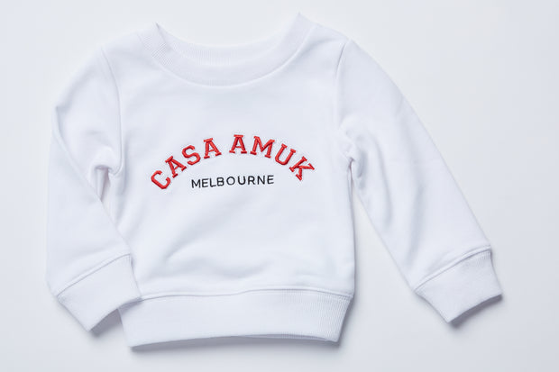 CASA KIDS SWEATER - WHITE/CHILLI