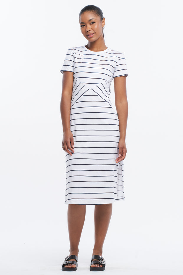 SIDE SPLIT MIDI DRESS - CLASSIC STRIPE