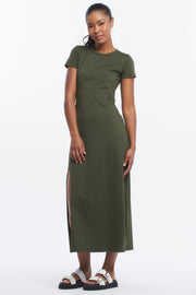 ASYMMETRIC MAXI DRESS - OLIVE