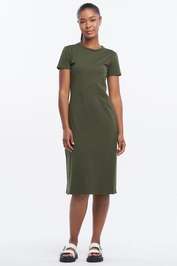 SIDE SPLIT MIDI DRESS - OLIVE