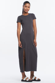 ASYMMETRIC MAXI DRESS - ASPHALT