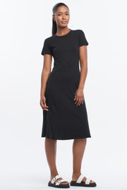 SIDE SPLIT MIDI DRESS - BLACK