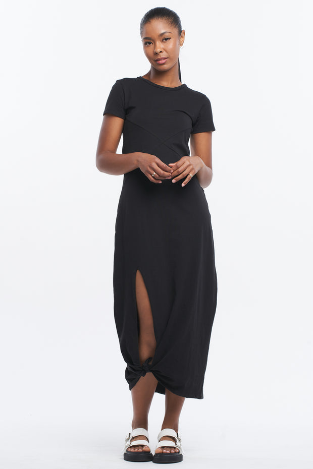ASYMMETRIC MAXI DRESS - BLACK